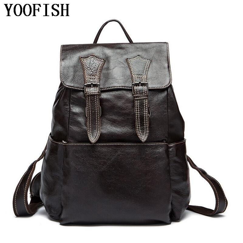 YOOFISH  100% Genuine Leather Man Bag High Quality Genuine Leather  Men Shoulder Bag School Travel Laptop Backpack  LJ-922YOOFISH  100% Genuine Leather Man Bag High Quality Genuine Leather  Men Shoulder Bag School Travel Laptop Backpack  LJ-922