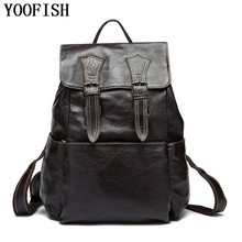YOOFISH  100% Genuine Leather Man Bag High Quality Men Shoulder School Travel Laptop Backpack LJ-922