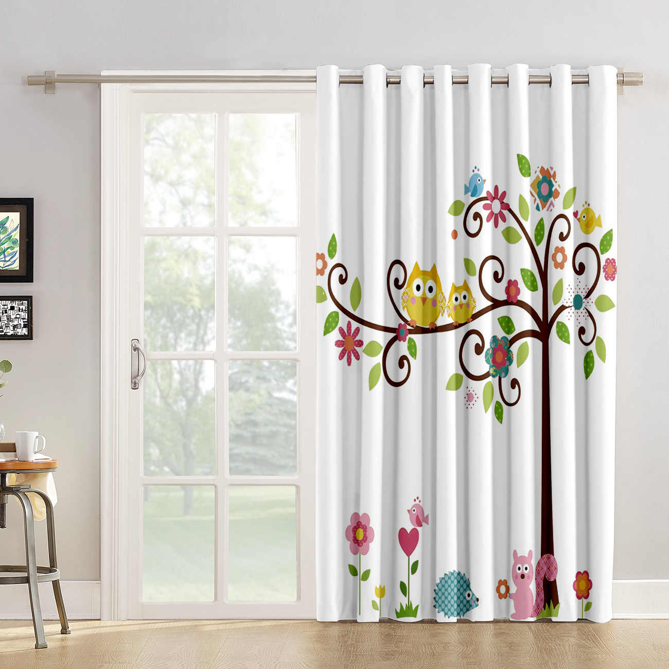 Cute Cartoon Owl Squirrel Window Treatment Ideas Window Treatments For Large Windows Window Dressing Room Darkening Custom Drape