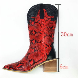 Image 2 - Fashion Embossed microfiber  Leather Women Mid calf Boots Toe Western Cowboy Boots Chunky High Heels Motorcycle Boots size 33 46