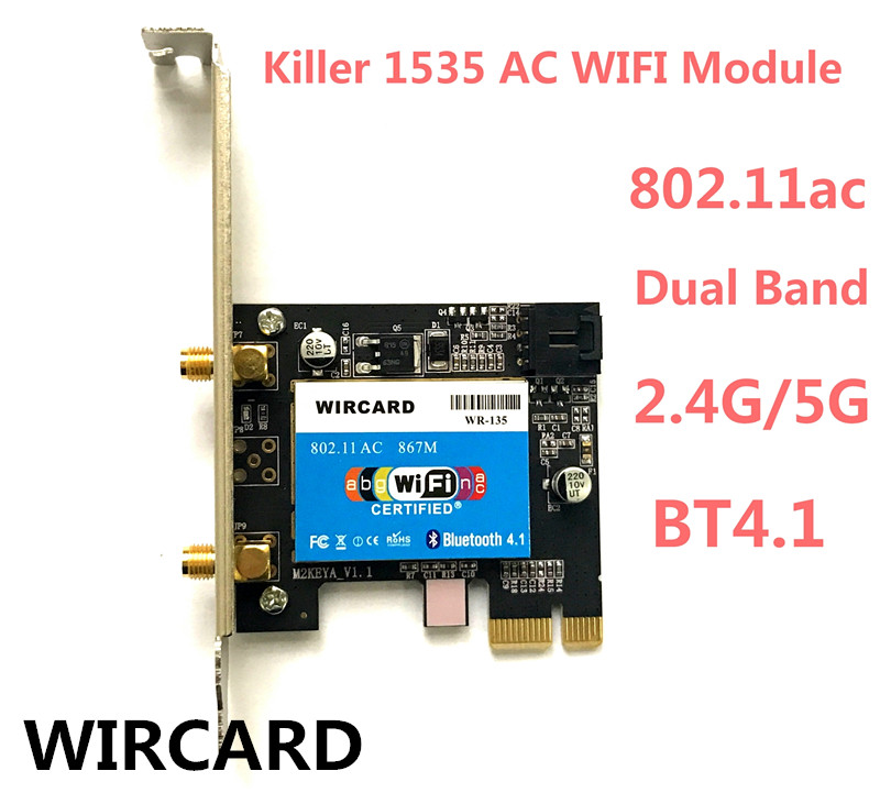 New Wlan 2-in-1 WR-135 Killer Wireless 1535 802.11 A/b/g/n/ac + Bluetooth 4.1 PCI-EX1 Wifi Card Network  867mbps For Desktop