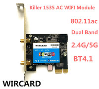 New Wlan 2 in 1 WR 135 Killer Wireless 1535 802.11 A/b/g/n/ac + Bluetooth 4.1 PCI EX1 Wifi Card Network 867mbps For Desktop