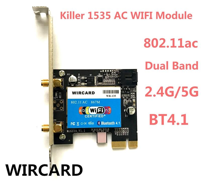Nouveau Wlan 2-en-1 WR-135 Tueur Sans Fil 1535 802.11 A/b/g/n/ac + Bluetooth 4.1 PCI-EX1 Wifi Carte Réseau 867 mbps Pour Bureau
