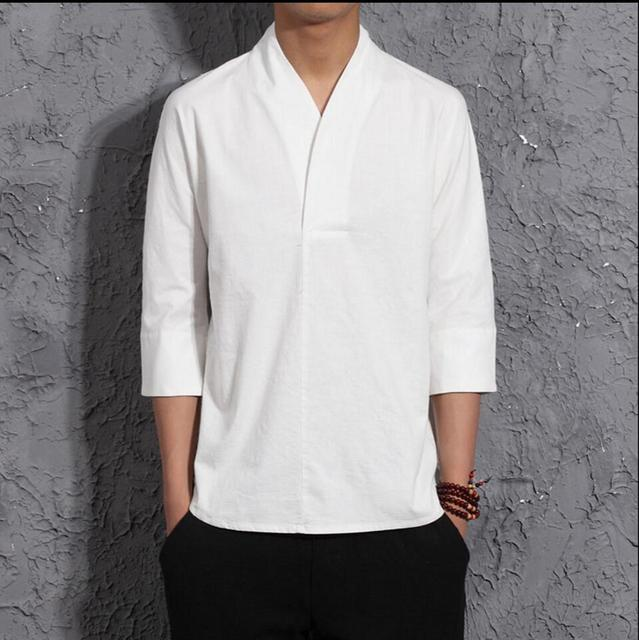 2020 New Chinese Style Summer Men's Clothing Three Quarter Sleeve Linen T-shirt Loose Fluid V-neck Tops Fashion Casual Clothes