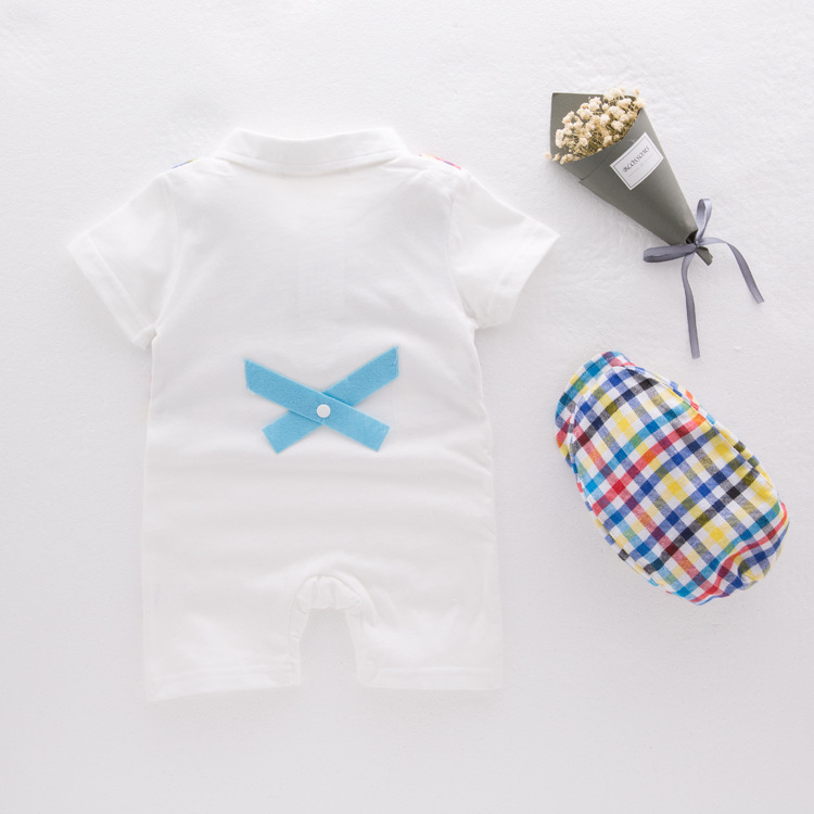 Newborn Babydress Baby Clothes Gentleman Dress Plaid Striped Short Sleeve Onesies Climbs Hat in Rompers from Mother Kids