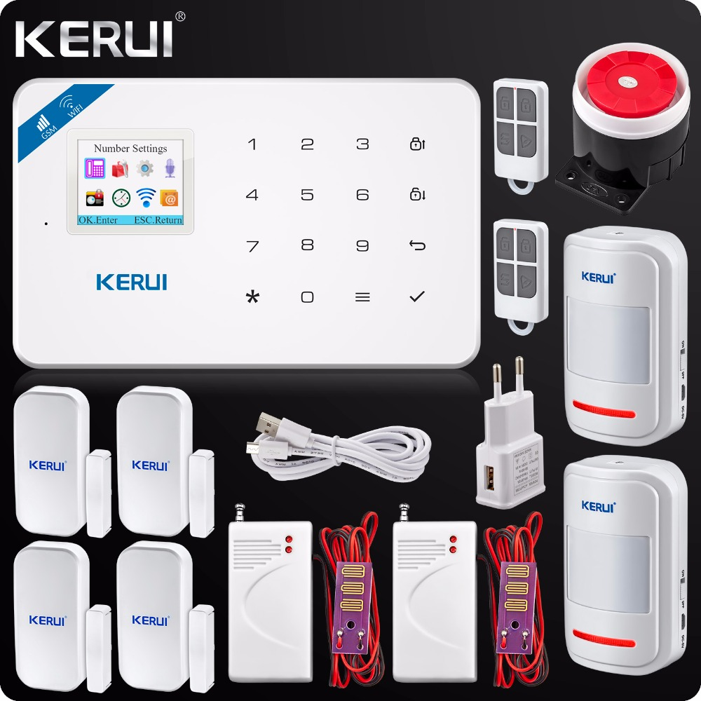 2019 Kerui W18 Wireless WIFI GSM IOS Android APP Control Home Security Burglar Alarm System Smart  Wireless Water Leak Detector