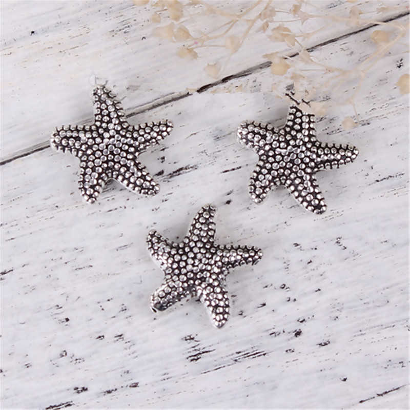 "DoreenBeads Zinc Based Alloy DIY Spacer Beads Starfish Antique Silver 14mm( 4/8"") x 14mm( 4/8""), Hole: Approx 0.8mm, 10 PCs"