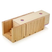 Wooden Soap Loaf Cutter Mold And Rectangle Silicone Mould With Wood Box