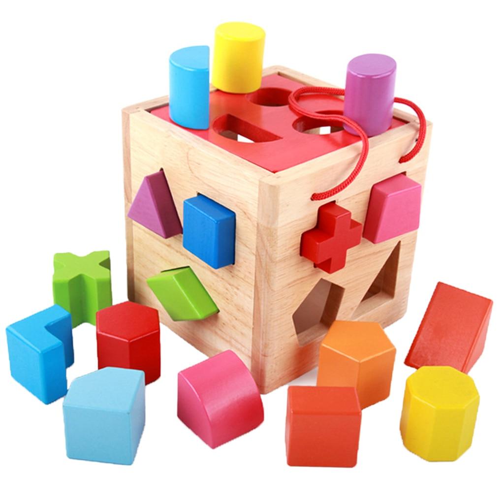 Kids Wooden Shape Sorting Cube Educational Montessori Toys Gift for Toddler baby toys montessori wooden geometric sorting board blocks kids educational toys building blocks child gift