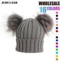 Winter Real Fur Ball Beanie Hat For Women Fluffy Raccoon Fur Pom Poms Skullies Beanies