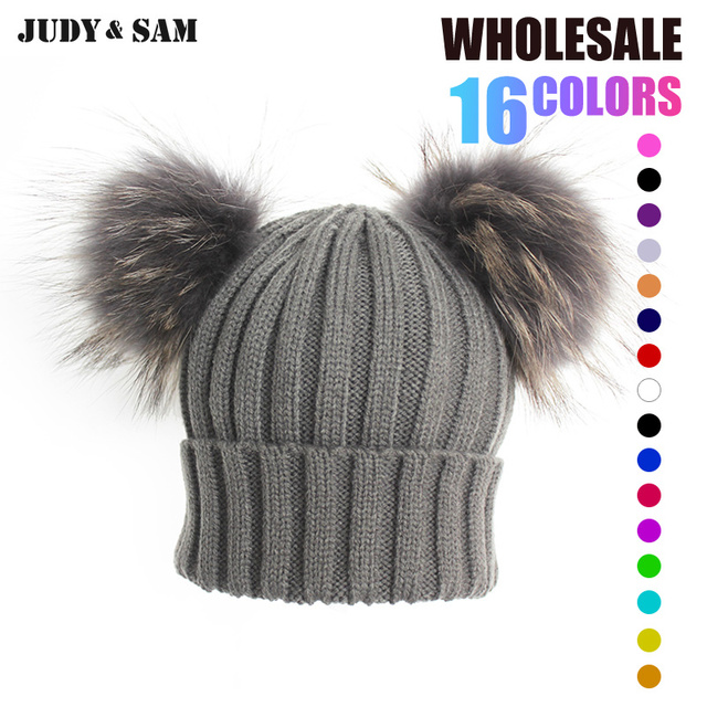 Winter Real Fur Ball Beanie Hat for Women Fluffy Raccoon Fur Pom Poms  Skullies Beanies Hat With 2 Fur Pom Pom ef378c124fa9