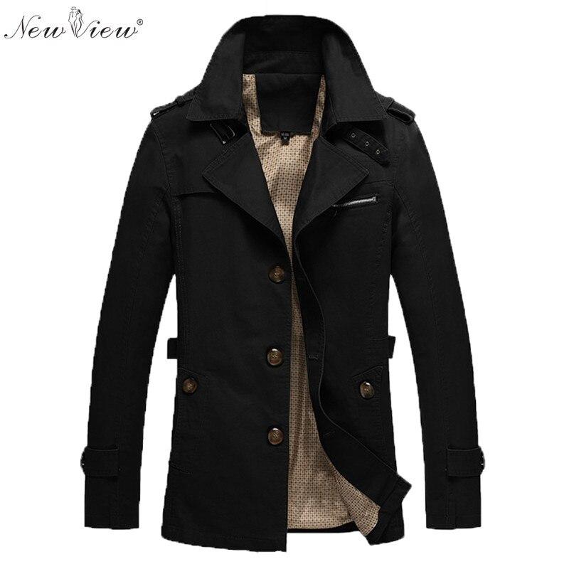 Jacket Men Autumn Spring Business Suit Turn Down Collar Coat Army Black Khaki Trench Coat Mens