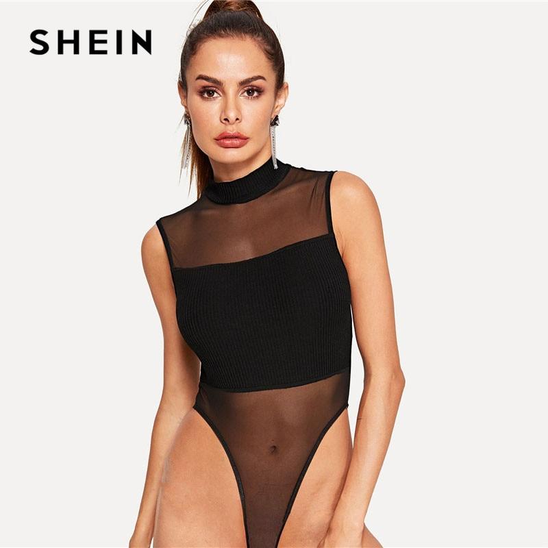 SHEIN Black Mock-Neck Rib-Knit Insert High Cut Skinny Sexy Bodysuit Women High Waist Sleeveless Summer Solid Stretchy Bodysuits