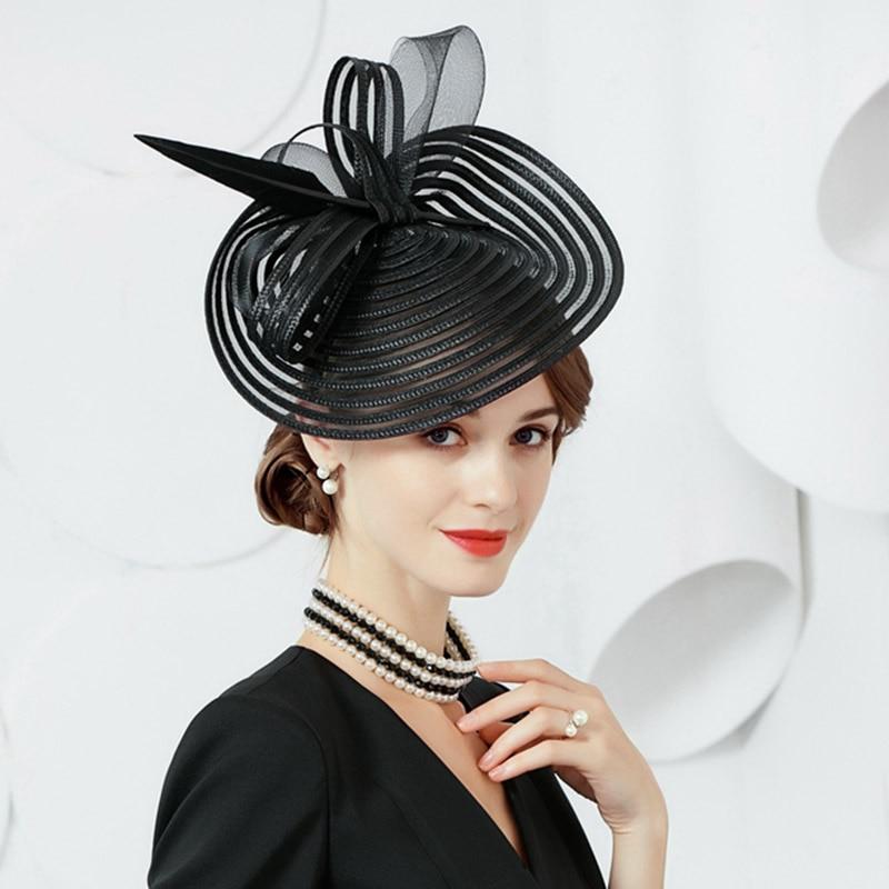 Elegant Ladies Fascinators Race Kentucky Derby Wedding Women Hats Cocktail Party headpiece with Satin Flower Feather