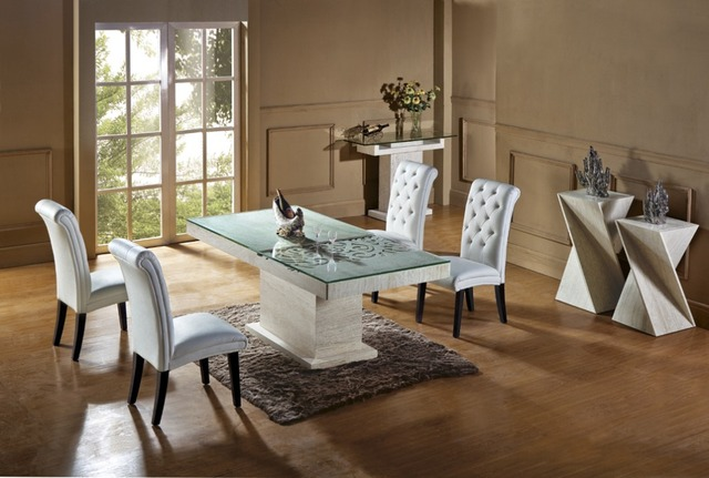 Natural Travertine Dining Table Set Luxury High Quality Store Marble Furniture NB