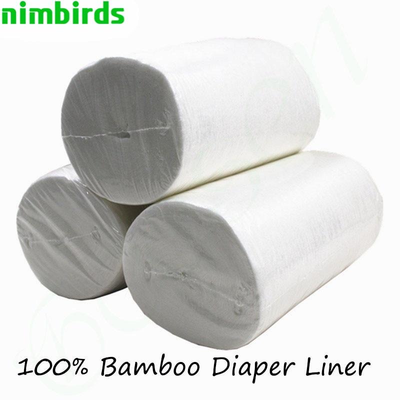Bamboo Flushable Liner, 100 φύλλα / ρολό βιοαποδομήσιμου μιας χρήσης για 3-36 μήνες και 3-15 Kgs Bab