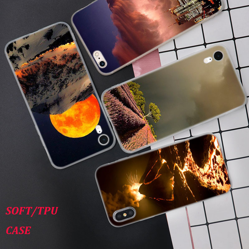 Silicone Case Thunderstorm Printing for iPhone XS XR Max X 8 7 6 6S Plus 5 5S SE Phone Matte Cover