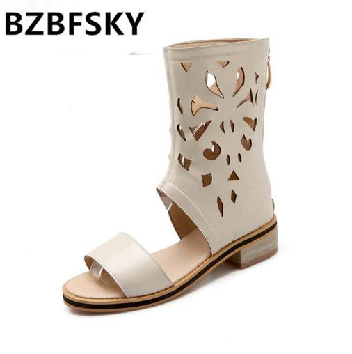 BZBFSKY LargeSize 34-47 New Fashion Womens Gladiator Knee High Sandals Cut Outs Flat Summer Boots Solid Color Dress Shoes Woman