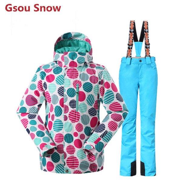 GSOU SNOW зимние горнолыжные костюмы женские, недорогая женская горнолыжная  куртка, красивая женская сноубордическая куртка 3ad70be7428