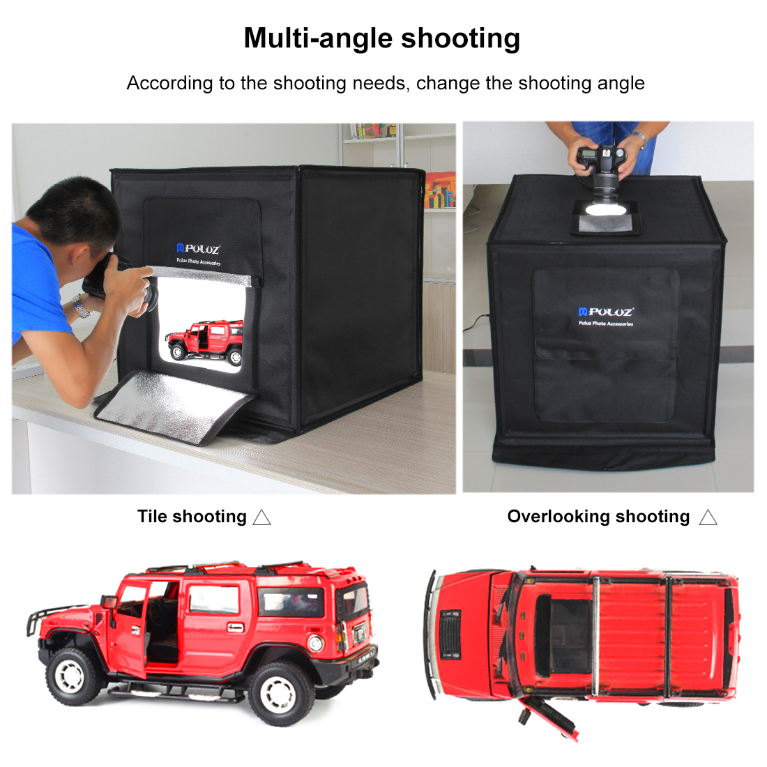 PULUZ Camera Accessory Lightbox 60*60cm LED Photo Studio Softbox Shooting Light Tent AU Plug Power Adapter Compatible with AU