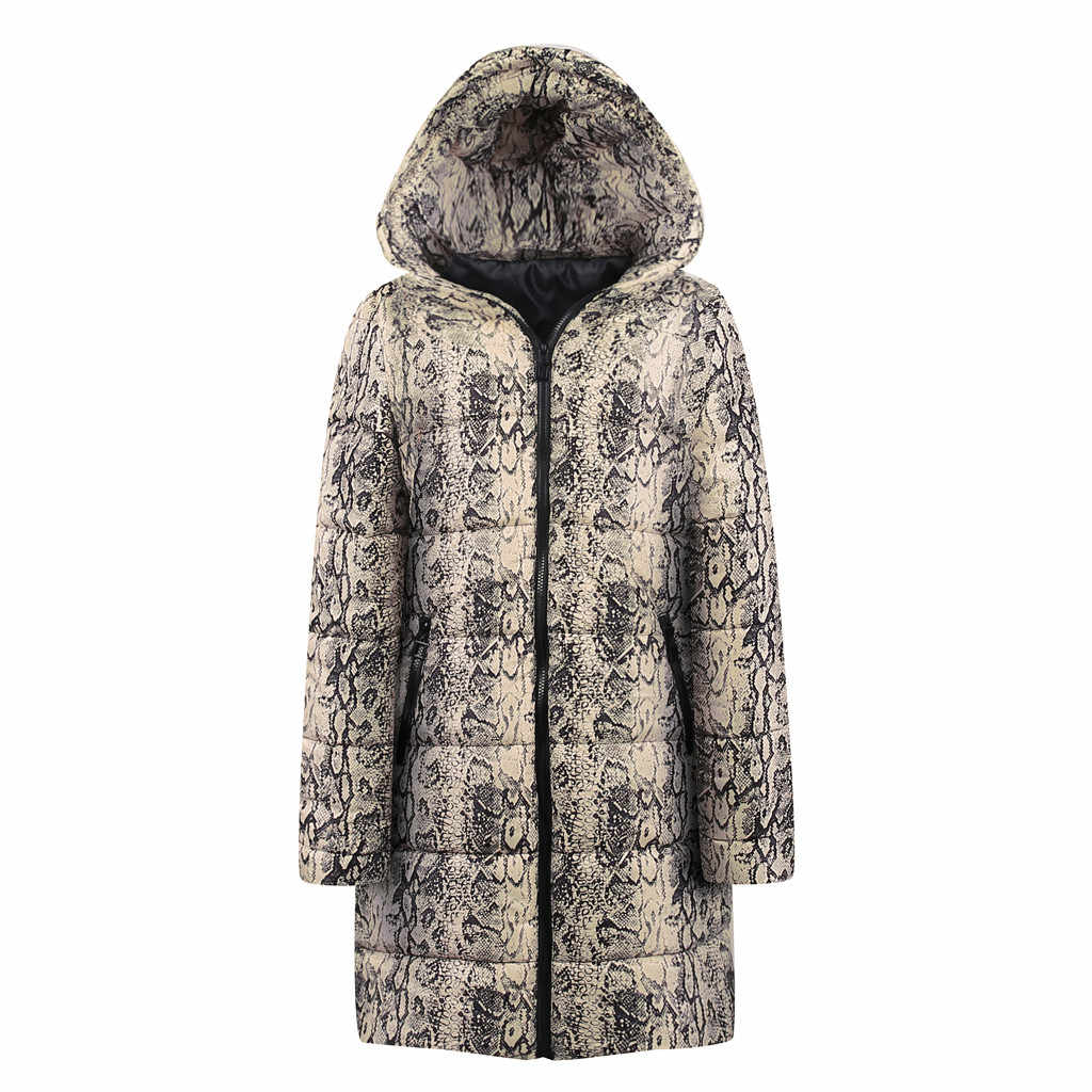 Womens Winter Long Down Cotton Snake Print Parka Hooded Coat Jacket Outwear Abrigos De Mujer coats and jackets women