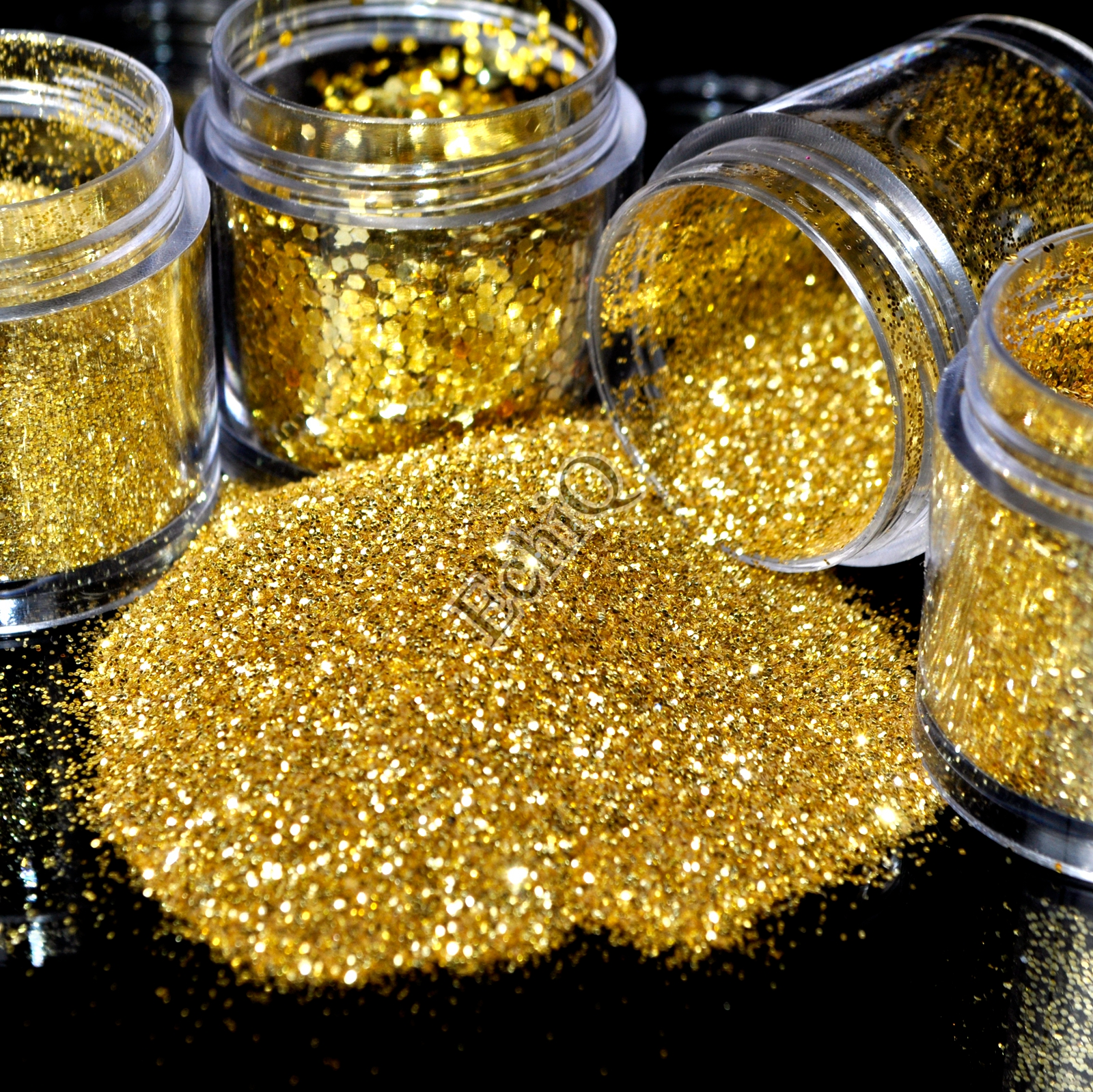 1 Box Pure Gold Hexagon Nail Glitter Powder Sequins 3D Nail Art Decoration 4 Different Size Acrylic DIY Nails Tools mioblet 2g box mirror effect nail glitter powder shiny rose gold purple mirror chrome powder dust nails art pigment diy manicure