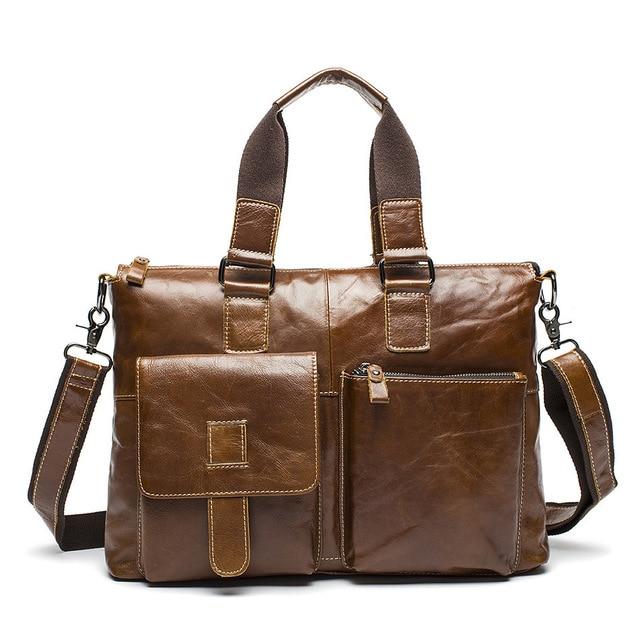 Genuine Leather Men Bag Crazy Horse Leather Men's Handbags Casual Business Laptop Shoulder Bags Briefcase Messenger Bag 2016 NEW