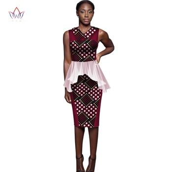 African Women Dresses for Women Dashiki Sleeveless Knee-Length Women Bazin Dress African Print Clothing Plus Size 6XL WY1673 фото