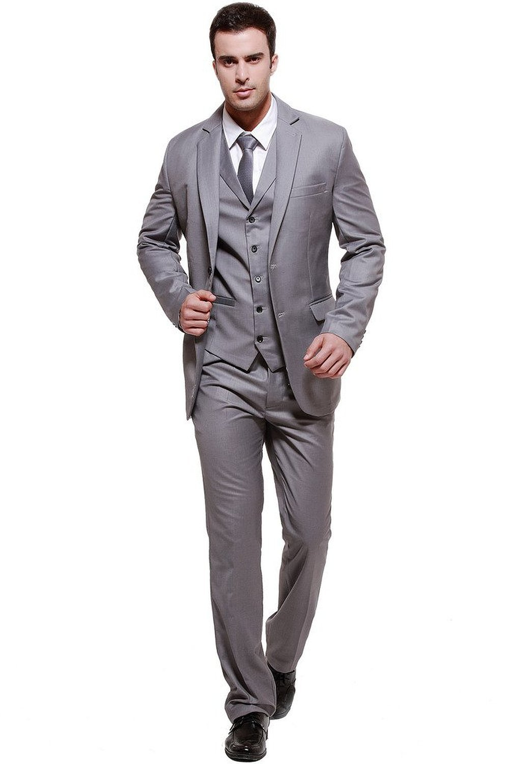 Hanayome Men's Modern Fit 3 Piece Suit Blazer Jacket Tux Vest ...