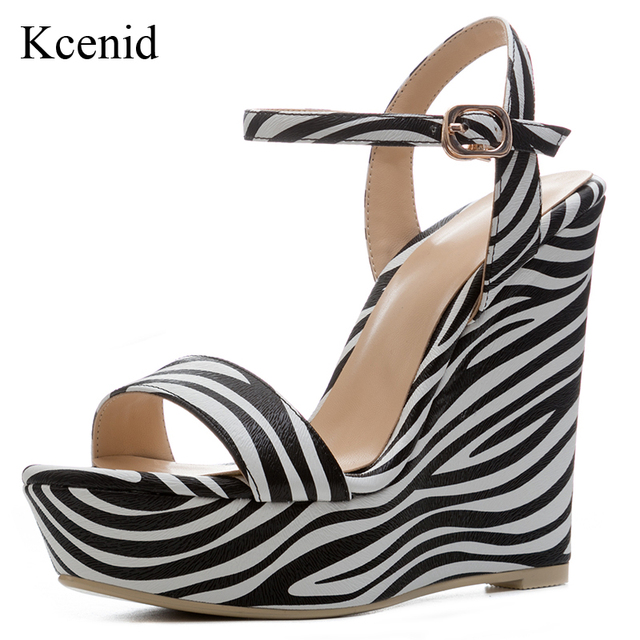 c42be2a09007 Kcenid 2018 New sexy open toe high heels zebra print summer sandals women  wedges shoes 2018 platform shoes woman plus size 34-41