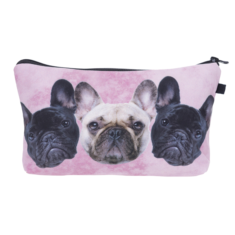Who cares New Cosmetic Bag Women Neceser Portable Make Up Bag 3D Printing Bull Dog Organizer