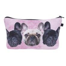 Who cares New Cosmetic Bag Women Neceser Portable Make Up Bag 3D Printing Bull Dog Organizer Bolsa feminina Travel Toiletry Bag