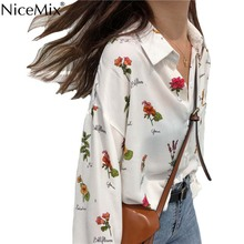 NiceMix Summer Casual Long Sleeve Floral Shirt Women Blouse Print Flowers Harajuku Tops And Blusas Camisas Mujer 2019