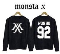 2016 new full MONSTA X kpop album Korean version autumn long sleeve k pop MONSTA sweatshirt fleece jacket outwear clothes Shirt