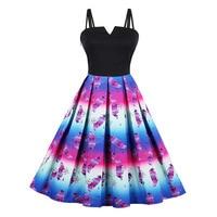 Sisjuly Women Summer Dress A Line Print Sleeveless Mid Calf Spaghetti Strap Backless Floral Strapless Plus
