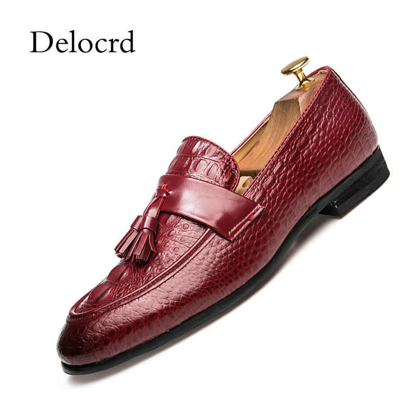 Men Shoes Alligator Design Tassel Loafers Shoes Slip On Men Pointed Toe Casual Moccasns Shoes For Men Zapatos Hombre Delocrd Aliexpress
