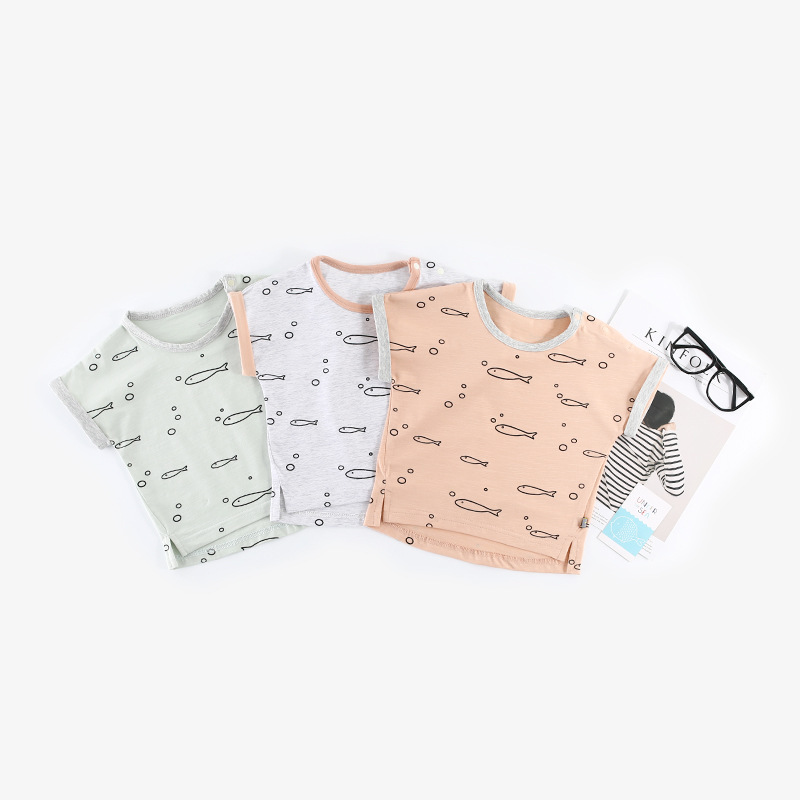 2018 summer full print cartoon short sleeved T-Shirt Baby round neck infant clothes