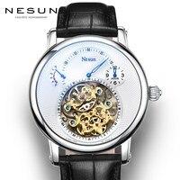 Швейцария Элитный бренд Nesun полые Tourbillon часы Для мужчин автоматические механические Для мужчин часы сапфир Водонепроницаемый часы N9081 4
