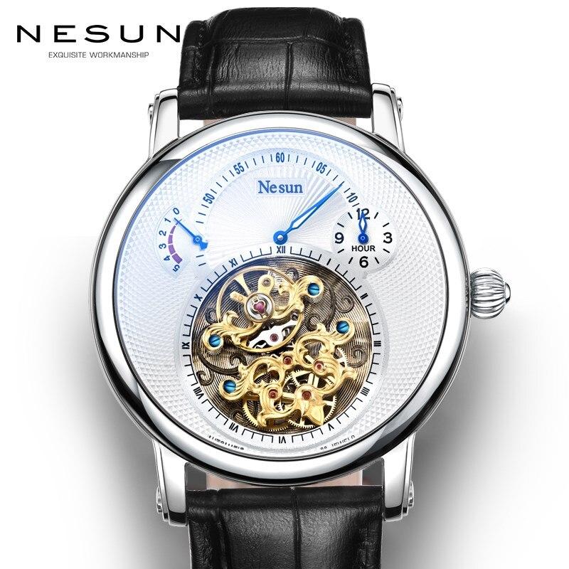 Suisse marque de luxe Nesun creux Tourbillon montre hommes automatique mécanique montres pour hommes saphir étanche horloge N9081-4
