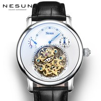 Switzerland люксовый бренд Nesun полый турбийон часы Мужские автоматические механические мужские часы сапфир Водонепроницаемые часы N9081 4