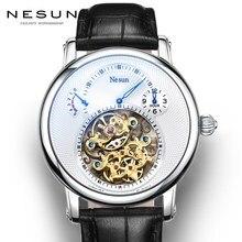 Suiza de la marca de lujo de Nesun hueco reloj Tourbillon hombres automático mecánico de los hombres relojes zafiro resistente al agua reloj N9081-4