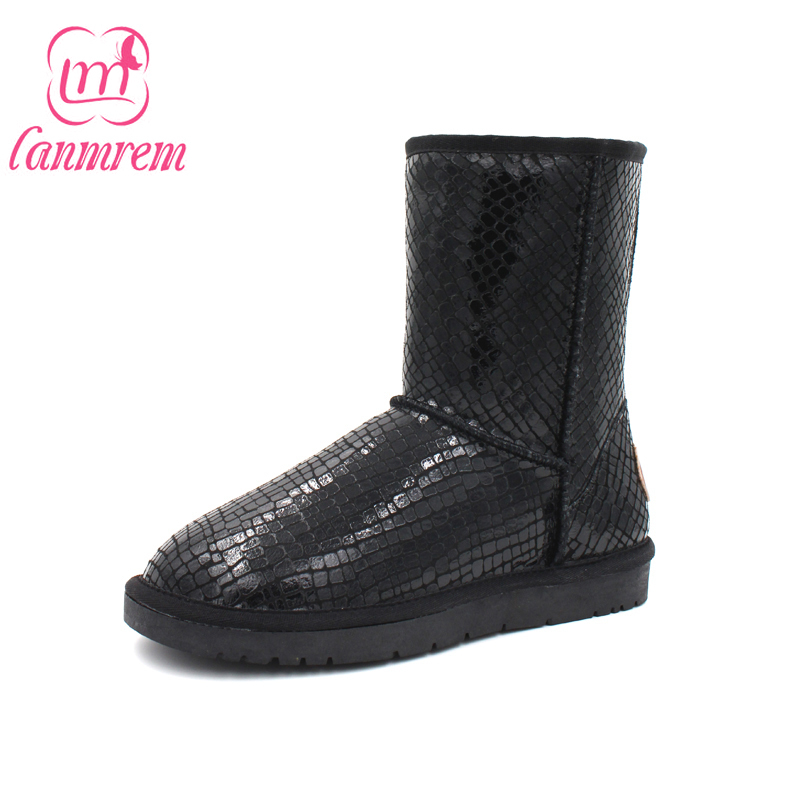 [Dai Yun] 2017 Winter fashion new pattern solid color round toe fur mid sleeve warm waterproof boots women V833 dai shi han