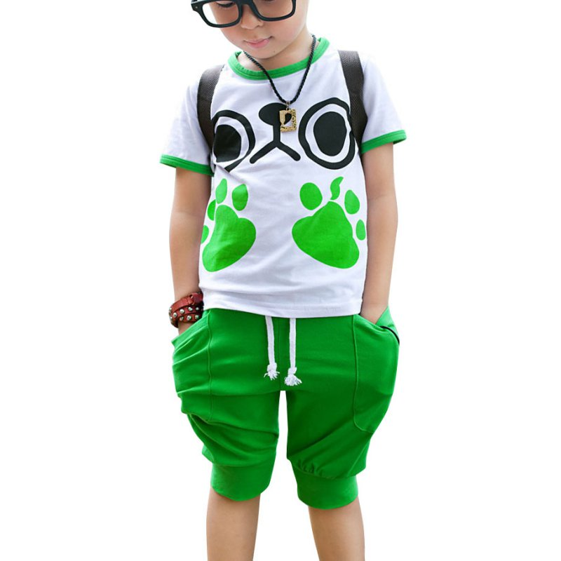 Newest Arrive Summer Cute Kids Boys' Casual Clothing Suit Footprint Short Sleeve Top & Pant 3-7 Year Clothes Set