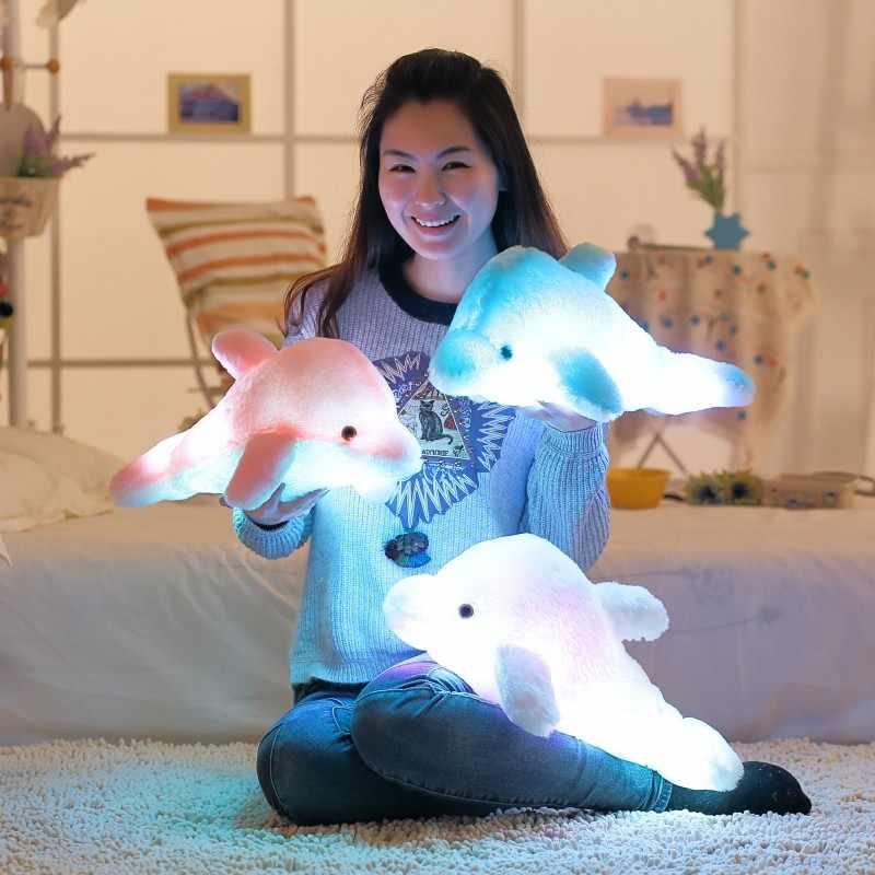 Бесплатная доставка световой подушка светодио дный свет плюшевые подушки красочные плюшевая игрушка Дельфин рождения детей День святого Валентина подарки ST368