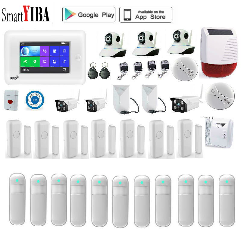 SmartYIBA Wireless 4.3LCD GSM SMS Full Touch Screen Voice ALARM SYSTEM SECURITY HOME IOS Android APP Auto Dial Sensor Siren Kit free dhl fedex ios android app remote auto dial gsm sim call sms intruder wireless house voice alarme system g15