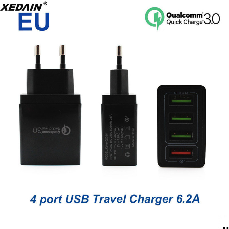 XEDAIN QC Usb-Charger IPad Xiaomi Phone Free-Data-Cable Huawei Sony 4-Ports Eu/Us-Plug