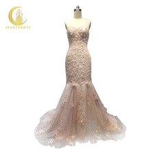 JIALINZEYI Real Sample Sweetheart Lace Appliques Hand Flowers Champange Mermaid Fashion Bridal Wedding Gown wedding dresses