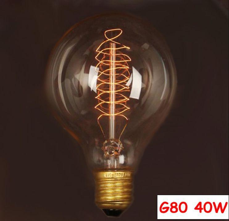 E27 40W 220V Retro Edison Style Light Bulbs Incandescent Vintage Bulb G80 Wholesale Price