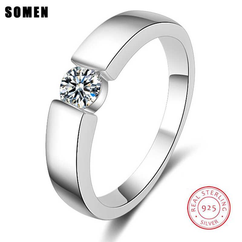 Somen luksusowe Serie Shining cyrkonia srebro mężczyźni pierścienie Anel Masculino Anillos Mujer biżuteria darmowe grawerowanie