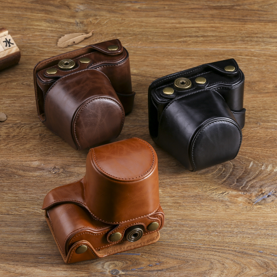 SLR Digital PU Leather Camera Case Bag For <font><b>Sony</b></font> A6300 A5000 A6000 A5100 ILCE-5000 ILCE-<font><b>6000</b></font> ILCE-5100 ILCE-6300 + Leather Strap image